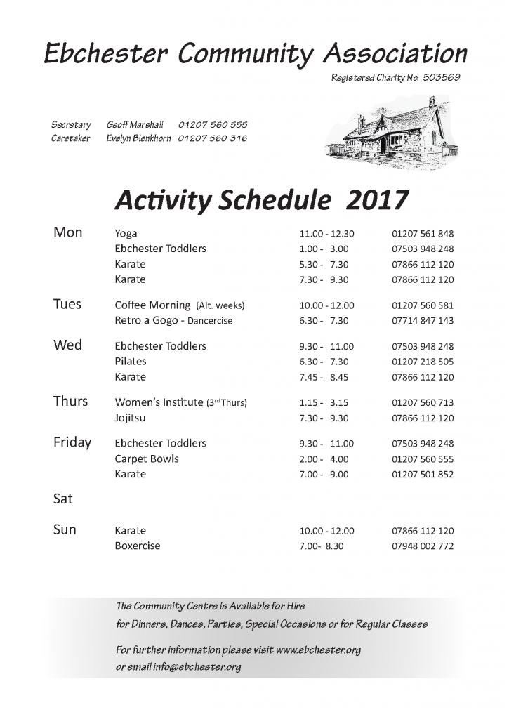 ECA Diary Schedule 2017 March (Sept)