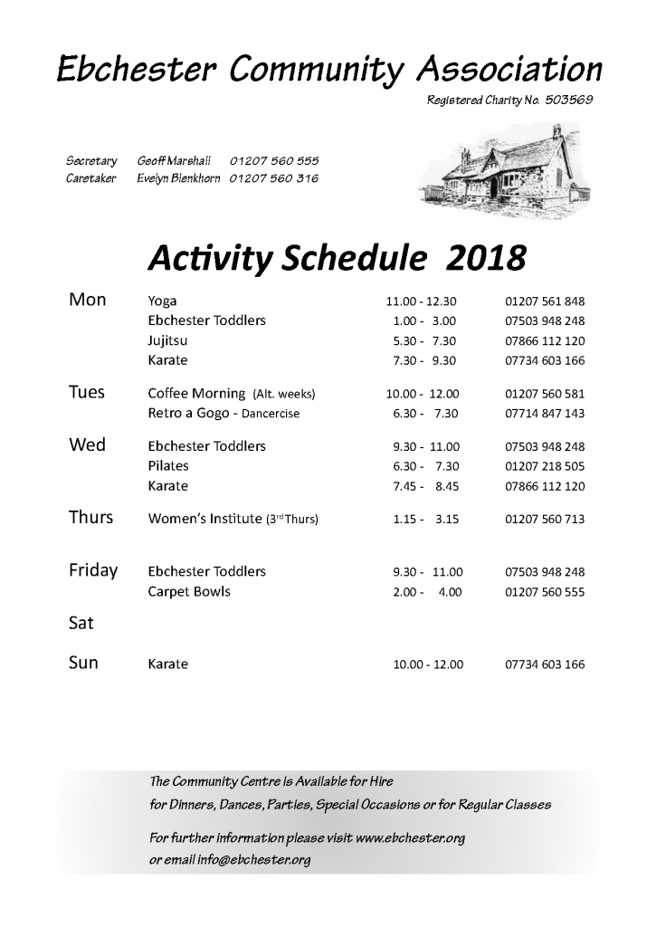ECA Diary Schedule 2018 May