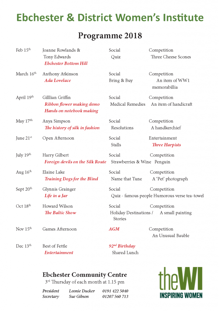 WI Programme 2018